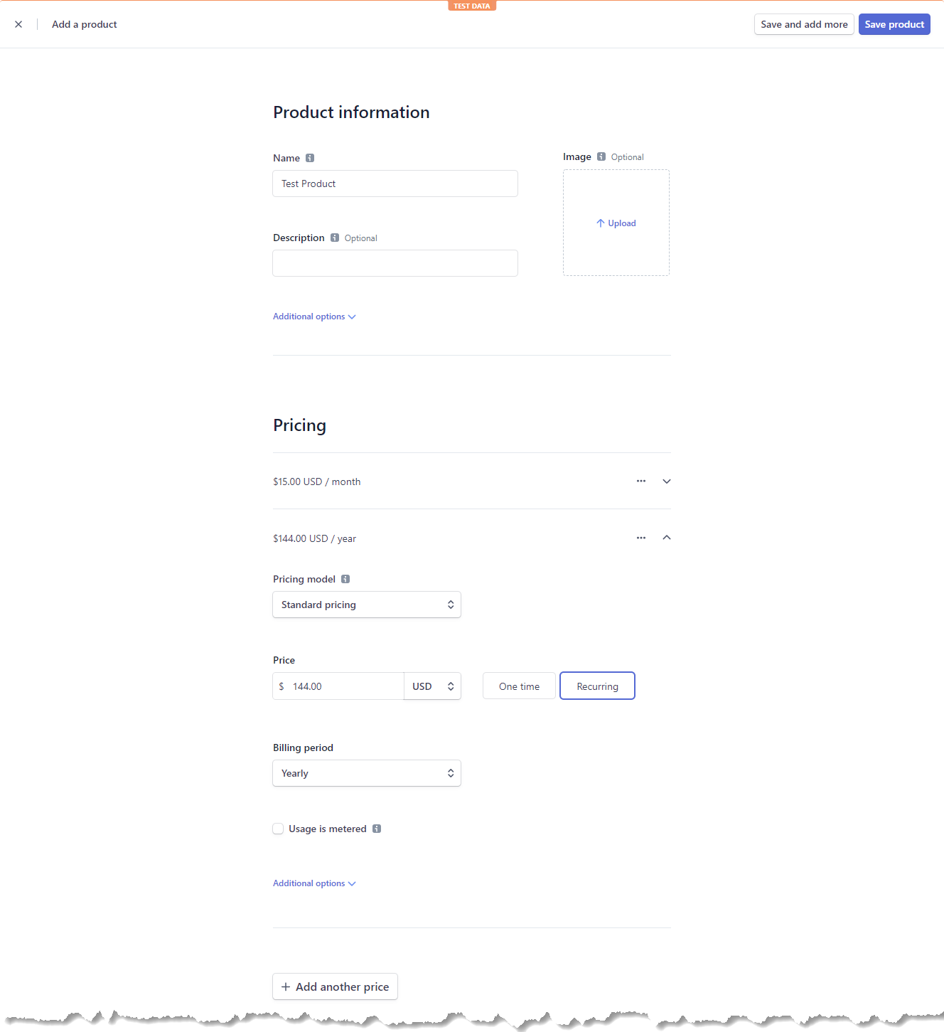 Setting New Product Details in the Stripe Dashboard