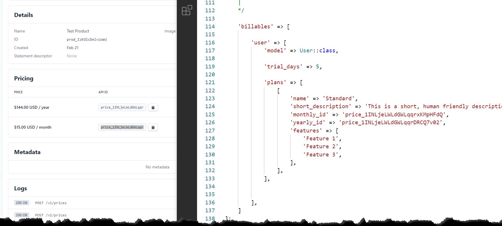 Stripe Price ID Configuration Example