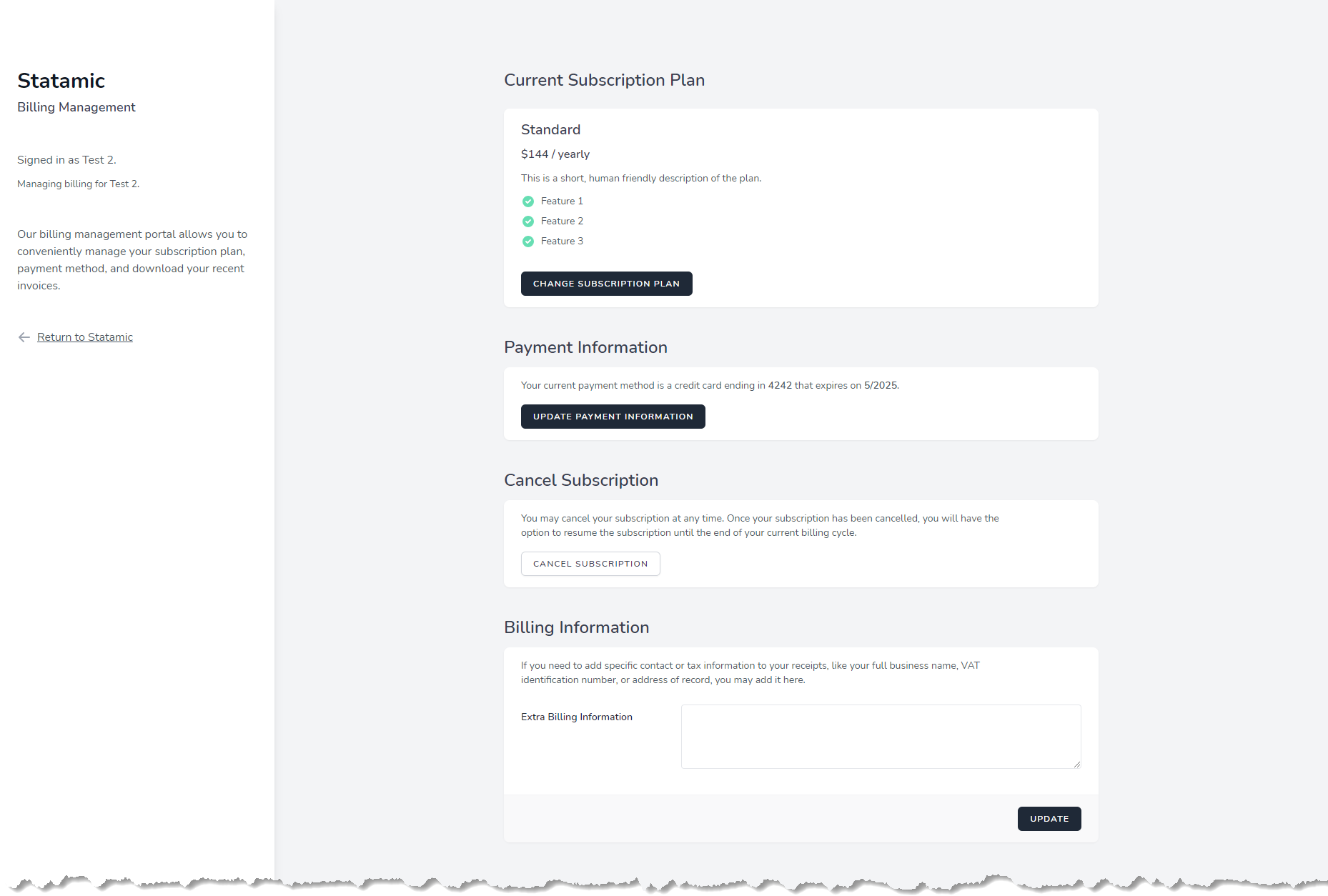 Statamic and Spark Test Subscription